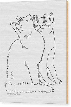 Cat-art-curious Wood Print by Gordon Punt