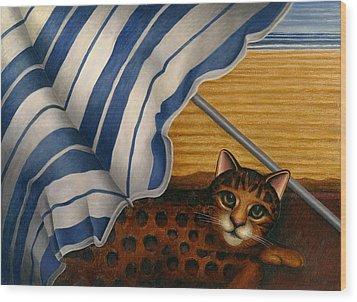 Cat At Beach Wood Print by Carol Wilson