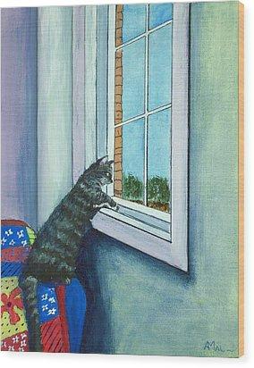 Cat By The Window Wood Print by Anastasiya Malakhova