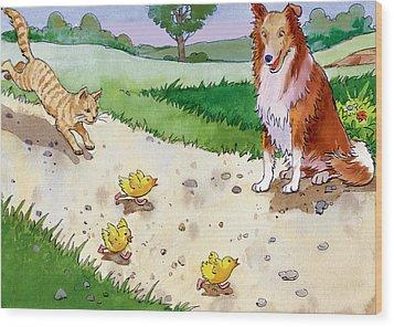 Cat Chasing Chicks Wood Print by Valer Ian