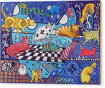 Cat Cocktail - Cat Art By Dora Hathazi Mendes Wood Print by Dora Hathazi Mendes
