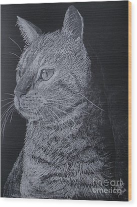 Cat Wood Print by Cybele Chaves