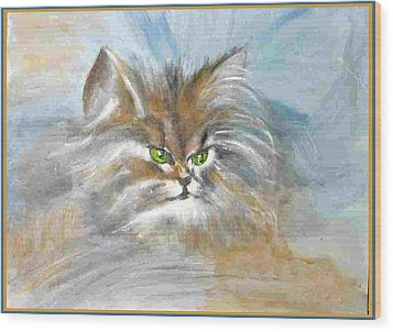 Wood Print featuring the painting cat by Dragica  Micki Fortuna