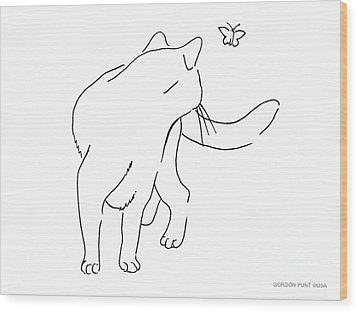 Cat-drawings-black-white-2 Wood Print by Gordon Punt