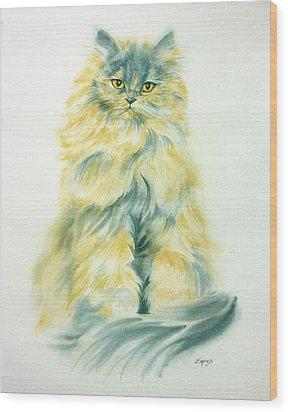 Cat Eyes Wood Print by Linda Eades Blackburn