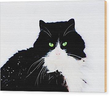 Wood Print featuring the digital art Cat Eyes by Yury Bashkin