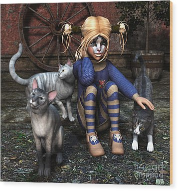 Cat Girl Wood Print by Jutta Maria Pusl