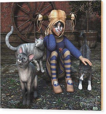 Cat Girl Wood Print