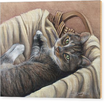 Cat In A Basket Wood Print by Susan Jenkins