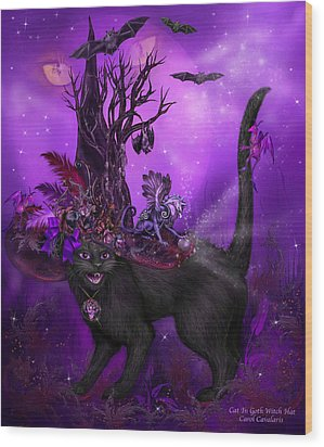 Cat In Goth Witch Hat Wood Print by Carol Cavalaris