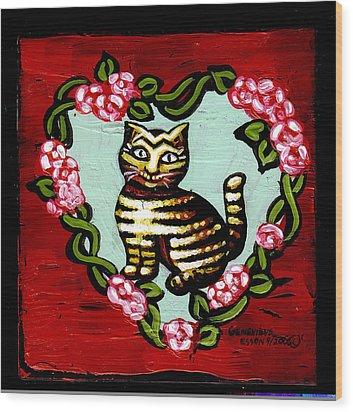 Cat In Heart Wreath 2 Wood Print by Genevieve Esson