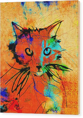 Cat In Red And Yellow Wood Print