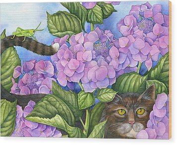 Cat In The Garden Wood Print by Mindy Lighthipe