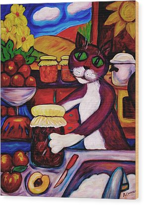 Wood Print featuring the painting Cat In The Kitchen Bottling Fruit by Dianne  Connolly