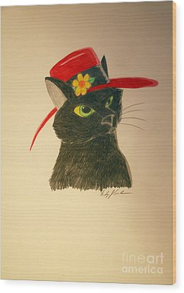 Cat In The Red Hat Wood Print by Wendy Coulson