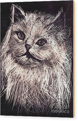 Cat Life Wood Print by Leonor Shuber