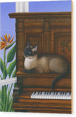 Cat Missy On Piano Wood Print by Carol Wilson