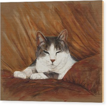Cat Nap Wood Print by Billie Colson