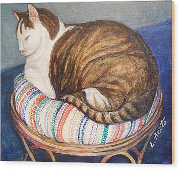 Wood Print featuring the painting Cat Nap by Laura Aceto