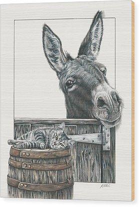 Cat On A Barrel Wood Print