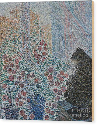 Cat On My Window Wood Print by Anna Yurasovsky