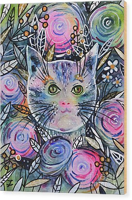 Wood Print featuring the painting Cat On Flower Bed by Zaira Dzhaubaeva
