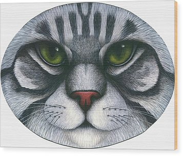 Cat Oval Face Wood Print by Carol Wilson
