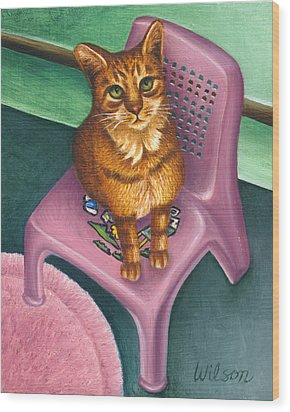 Cat Sitting On A Painted Chair Wood Print by Carol Wilson