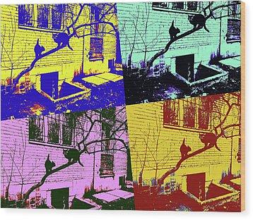 Cat Story Wood Print by Tetyana Kokhanets