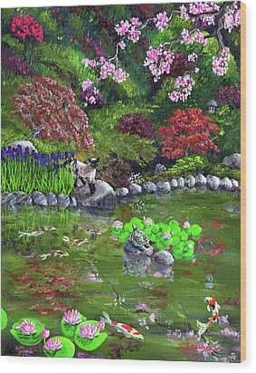 Cat Turtle And Water Lilies Wood Print by Laura Iverson