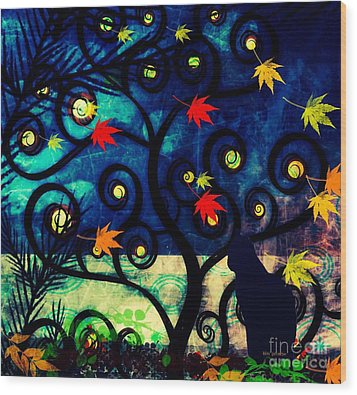 Cat Watch  Wood Print by Kim Prowse