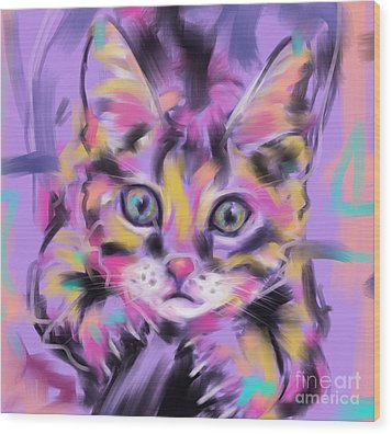 Cat Wild Thing Wood Print by Go Van Kampen