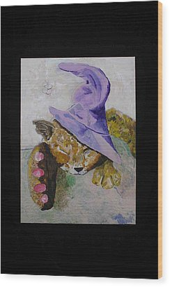 Cat With A Magician's Hat Wood Print by AJ Brown