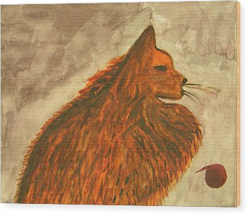 Cat With Yarn Wood Print