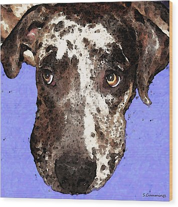 Catahoula Leopard Dog - Soulful Eyes Wood Print by Sharon Cummings