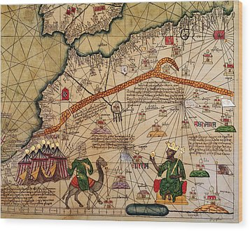 Catalan Map Of Europe And North Africa Charles V Of France In 1381  Wood Print by Abraham Cresques