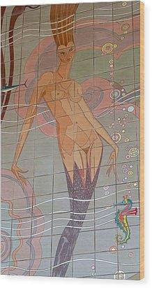 Catalina Tile Mermaid Wood Print by Jeff Lowe