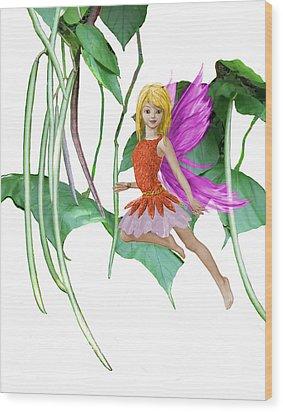 Catalpa Tree Fairy Among The Seed Pods Wood Print