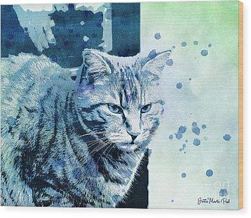 Wood Print featuring the digital art Catbird Seat by Jutta Maria Pusl