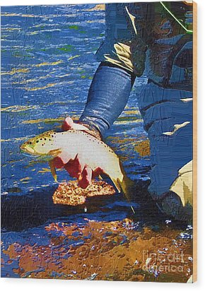 Catch And Release Wood Print by Diane E Berry
