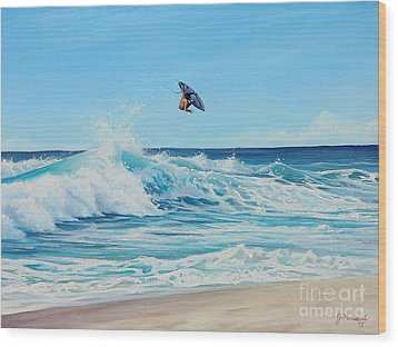 Catching Air Wood Print by Joe Mandrick