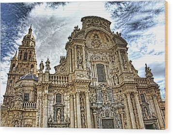 Wood Print featuring the digital art Catedral De Murcia by Angel Jesus De la Fuente