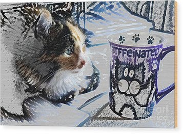 Catfinated Kitty Wood Print