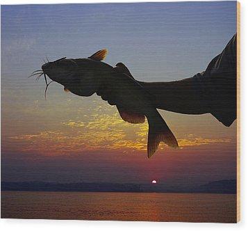 Catfish At Sunrise Wood Print by Ron Kruger