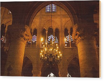 Cathedral Chandelier Wood Print by Mick Burkey
