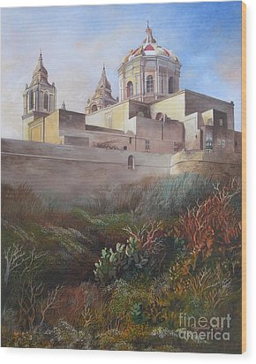 Cathedral Mdina Wood Print by Raymond Frans