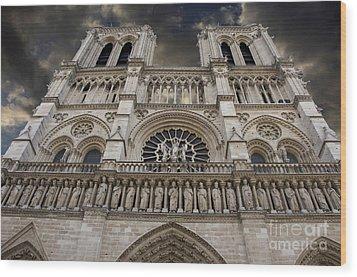 Cathedral Notre Dame Of Paris. France   Wood Print by Bernard Jaubert