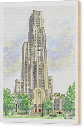 Cathedral Of Learning Wood Print by Val Miller