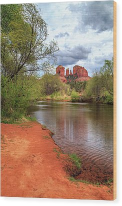 Wood Print featuring the photograph Cathedral Rock From Oak Creek by James Eddy