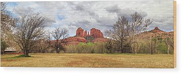 Wood Print featuring the photograph Cathedral Rock Panorama by James Eddy